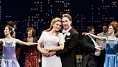 Betsy Wolfe as Ellen and Zach Braff as David Shayne with the cast of Bullets Over Broadway