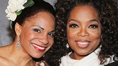 Audra McDonald and Oprah Winfrey take a snapshot.