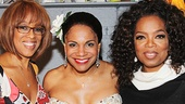 Showbiz besties Gayle King and Oprah Winfrey flank Lady Day star Audra McDonald.