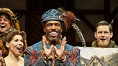 Andre Ward as Minstrel and the cast of Something Rotten!.