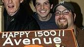 Photo Op - Avenue Q plays 1,500 performance - (with cake) - Christian Anderson - Howie Michael Smith - Evan Harrington