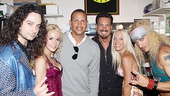 Constantine Maroulis, Emily Padgett, pro-baller Alex Rodriguez, show producer Barry Habib, wife Toni Habib and scene stealer James Carpinello team up for a group shot.