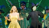 Katie Rose Clarke as Glinda, Mandy Gonzalez as Elphaba and cast in Wicked.