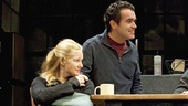 Laura Linney as Sarah, Brian d'Arcy James as James, Eric Bogosian as Richard and Christina Ricci as Mandy in Time Stands Still.