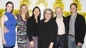 The cast of the Language Archive lines up for a photo with playwright Julia Cho: Betty Gilpin, Heidi Schreck, Cho, Jayne Houdyshell, John Horton and Matt Letscher.