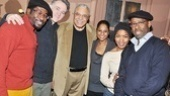 All together now: Daniel Beaty, Boyd Gaines, James Earl Jones, Nicole Lewis, Angela Bassett and Courtney B. Vance scoot together for a group shot at Driving Miss Daisy.