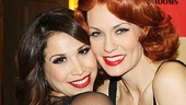Co-stars Bianca Marroquin (Roxie Hart) and Leigh Zimmerman (Velma Kelly) get cheek to cheek.