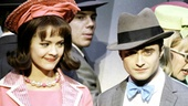 Rose Hemingway as Rosemary Pilkington and Daniel Radcliffe as J. Pierrepont Finch in How to Succeed in Business Without Really Trying.
