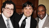 Mormon stars Josh Gad and Michael Potts sandwich the musical's co-writer Robert Lopez.