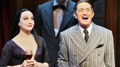 Bebe Neuwirth as Morticia, Zachary James as Lurch, Roger Rees as Gomez, Adam Grupper as Mal Beineke and Heidi Blickenstaff as Alice Beineke in The Addams Family.