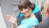 Lea Michele waves to the many Glee fans who showed up in Central Park hoping to grab a glimpse of the stars. 