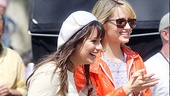 Stars Lea Michele and Dianna Agron look super happy as they ready to film a scene. 