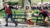 Mark Salling, Lea Michele and Cory Monteith goof around in the park. 