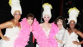 Bring out the boa! Jackie and Joan Collins glam it up alongside Priscilla's Divas Jacqueline B. Arnold, Ashley Spencer and Anastacia McCleskey.