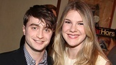 How to Succeed star Daniel Radcliffe says hello to Lilly Rabe. The duo worked together previously by participating in a reading of Nothing Else Like It on Earth.