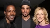 Motherf**ker co-stars Chris Rock and Bobby Cannavale greet The House of Blue Leaves star Edie Falco at the 77th Drama League Awards.