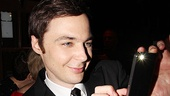 The Normal Heart star Jim Parsons proudly takes a shot of his winning castmate John Benjamin Hickey