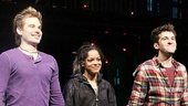 Roger (Matt Shingledecker) Mimi (Arianda Fernandez) and Mark (Adam Chanler-Berat) have jumped over the moon to take their opening night bows.