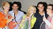 Tennis champs Novak Djokovic and Rafael Nadal get into the disco spirit with Mamma Mia! stars Stacia Fernandez, Lisa Brescia and Jennifer Parry.