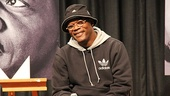 Oscar nominee Samuel L. Jackson (who will play Dr. Martin Luther King Jr. in The Mountaintop) is glad to see the faces of so many excited students as he takes the stage for an assembly at Brooklyn High School of the Arts.