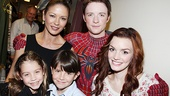 After watching Spider-Man alternate Matthew James Thomas soar through the Foxwoods Theater, Catherine Zeta-Jones daughter Carys Douglas and son Dylan Douglas snap a photo with the show's title hero and leading lady Jennifer Damiano.