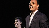 Angela Bassett and Samuel L. Jackson step out to the cheering crowd at the opening night curtain call of The Mountaintop.  