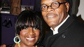 Backstage at the Jacobs Theatre, Samuel L. Jackson is glad to see his loving wife, LaTanya Richardson Jackson.