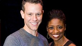 After their performance, Adam Pascal gives his new co-star Montego Glover a friendly hug.