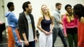 Jason Tam and Patti Murin can't help but giggle when they get near each other.