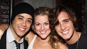 Lucky Rock of Ages star Rebecca Faulkenberry, who plays Sherrie, gets a photo with two Drews, Dan Domenech and Diego Boneta. Nice work, if you can get it!