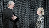 Sam Waterston as King Lear, Kelli O'Hara as Regan, Frank Wood as Duke of Cornwall and Michael McKean as Earl of Gloucester in King Lear.