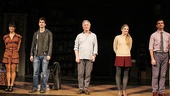 The distinguished cast of Seminar— Hettienne Park, Hamish Linklater, Alan Rickman, Lily Rabe and Jerry O'Connell—steps forward during their opening night curtain call.