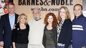 Stephen Sondheim poses with Follies stars Ron Raines, Elaine Paige, Bernadette Peters, Jan Maxwell and Danny Burstein before the crowd arrives at Barnes &amp; Noble.