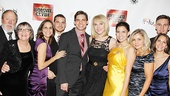 It's a family affair for Jeremy Jordan, who grins ear to ear surrounded by fiancée Ashley Spencer and his whole family.