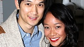 Harry Shum Jr. happily poses cheek to cheek with his Broadway date, girlfriend Shelby Rabara.