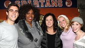 Rosie O'Donnell puts her game face on to pose with Lysistrata Jones stars Josh Segarra, Liz Mikel, Patti Murin and Lindsay Nicole Chambers.