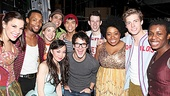 Blessed be! Broadway newbie Darren Criss can&#39;t contain his excitement at Circle in the Square Theatre with the cast of Godspell.