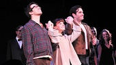 The audience goes wild for Merrily stars Lin-Manuel Miranda, Celia Keenan-Bolger and Colin Donnell.