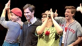 "Eric McCormack garners a thumbs up from Hunter Parrish during his rendition of ""Lazarus,"" alongside Telly Leung, George Salazar and Nick Blaemire."