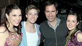 Eric McCormack is all smiles backstage with Lindsay Mendez, Hunter Parrish, and Godspell understudy Hannah Elless.