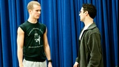 Christopher Gattelli goes over a move with West Side Story alum Ryan Steele.