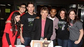 Stephen Schwartz is one happy birthday boy/Broadway composer surrounded by his show stars Anna Maria Perez de Tagle, George Salazar, Richard H. Blake, Wallace Smith, Jackie Burns and Lindsay Mendez.