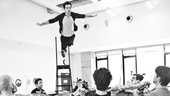What a catch! Adam Chanler-Berat soars through the air in rehearsal.