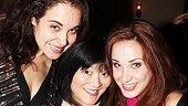 Closing cast member Sierra Boggess (r.) poses with her former Master Class castmate Alexandra Silber and Ann Harada (Avenue Q). 