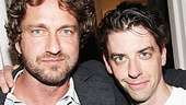 Tough guy Gerard Butler shares a hug with Peter and the Starcatcher's resident villain Christian Borle, who plays Black Stache.