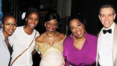 Accompanied by Noxolo Dyaluvane and Sade Pietersen, students in her Leadership Academy, Oprah Winfrey congratulates Memphis stars Montego Glover and Adam Pascal on an amazing show.