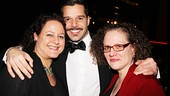 Evita producer (and longtime publicist) Carol Fineman enjoys a moment with Ricky Martin and her sister, Michelle.