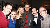 Friends and Broadway veterans Adam Fleming, Sarah Saltzberg, Elizabeth Stanley, Colin Hanlon, Max von Essen and Jesse Tyler Ferguson all enjoy this big opening night bash.