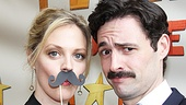 Former Xanadu tour co-stars Elizabeth Stanley and Max von Essen go moustache for moustache on the red carpet.