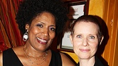 Love, Loss alum Nancy Giles and Tony winner and current nominee Cynthia Nixon share a laugh after the reading.